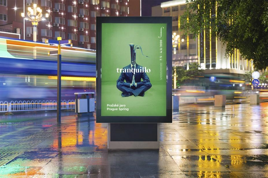 Affichage du Festival International de musique du Printemps de Prague 2020, exceptionnellement virtuel en raison du covid.19. ©Prague Spring International Music Festival