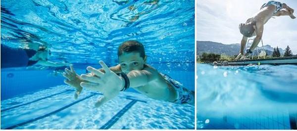 Le plaisir d'une plongée dans la grande piscine Aquacîme aux Carroz. @ Sylvain Cochard