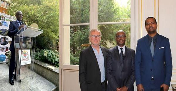 A gauche première photo, l'ambassadeur de Tanzanie en France Samwel W. Shelukindo lors de sa conférence de presse à Paris. Deuxième photo de gauche à droite, Denis Lebouteux, directeur de Tanganyika Expéditions, Samwel W. Shelukindo, ambassadeur de Tanzanie en France, Christophe Dieme corporate Sales Representative - Ethiopian Airlines @ DR