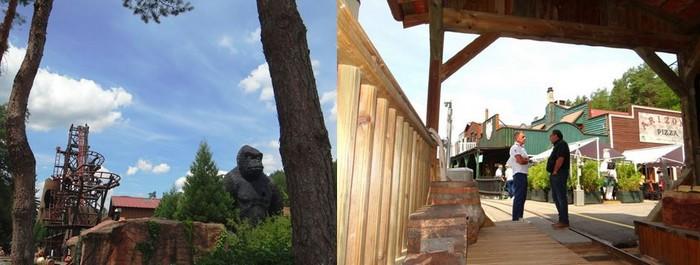 De gauche à droite :  Durant des années, le célèbre gorille était l'un des éléments phares du parc. ©Bertrand Munier ; Désormais à la tête de Fraispertuis, Patrice Fleurent (à droite) explique : « mon père avait quasiment tout créé de ses propres mains ». ©Bertrand Munier