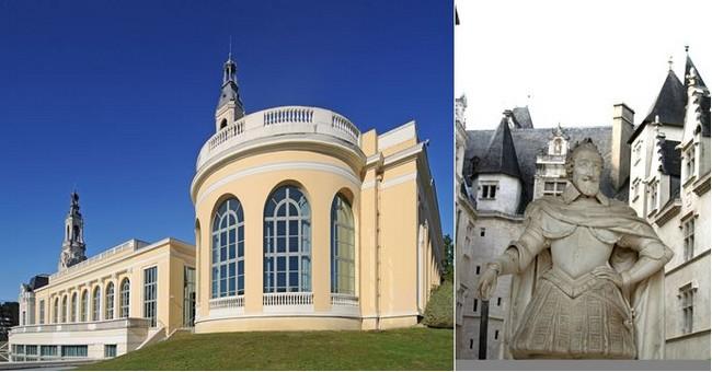 De gauche à droite : L'ancien Palais d'hiver est devenu  le Centre des Congrès ©pau pyrénées tourisme.©d.guilhamassé  et Château de Pau statue Henri IV dans la cour ©CDT