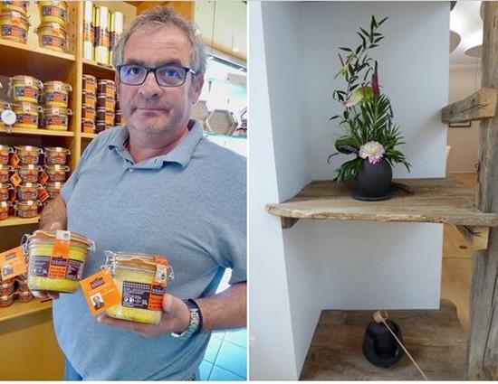 De gauche à droite : Les excellents  foies gras de la Maison Biraben  et A l'entrée de L'Amateur de Thé le rafiement à la japonaise vous accueille.@ C. Gary