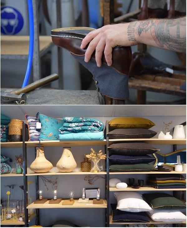 de haut en bas : Atelier du Souloir @ C.Gary Cozyn  un concept cosy qui allie mode, design et coworking @ C.Gary