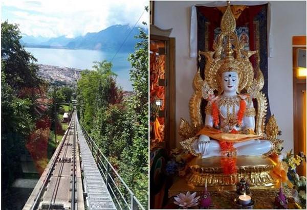 De gauche à droite : Riviera vaudoise. Funiculaire du Mont Pélerin ©Degon  et Rviera vaudoise Mont Pélerin, centre d'études tibétaines, statue de Bouddha. ©Degon