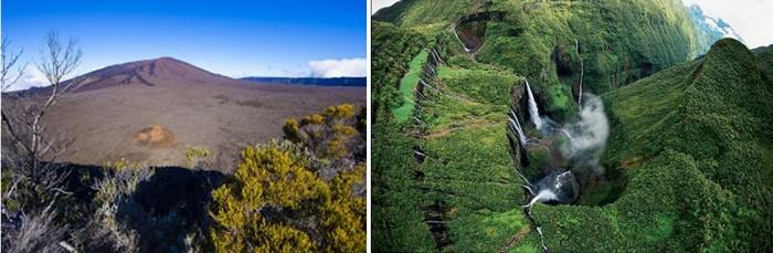 """De gauche à droite - Le Piton de la Fournaise au repos et  Cascades et bassins au """" Trou de Fer"""" @ David Raynal"""