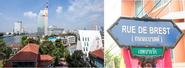 La rue de Brest à Bangkok non loin du nouvel immeuble de l'Ambassade de France @  ADPI et DR
