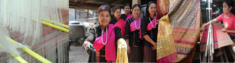 De gauche à droite : Complexité du tissage de la soie @. C.G.; Les Kui teignent leur soie de pigments naturels à Tha Sawang @ C.G.; Le  brocart tissé de fils d'or et d'argent  @ C.G.; Atelier de tissage dans un petit village.  @ C.Gary
