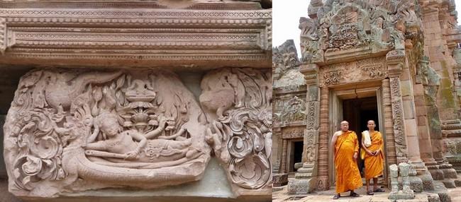 De gauche à droite : Le linteau à l'entrée du temple khmer de Phanom Rung. Vishnou sur son serpent, flottant sur une mer de lait. @ C.Gary;  Les moines bouddhistes arpentent les vestiges des différents temples khmers dispersés, solitaires, dans une nature luxuriante. @ C.Gary