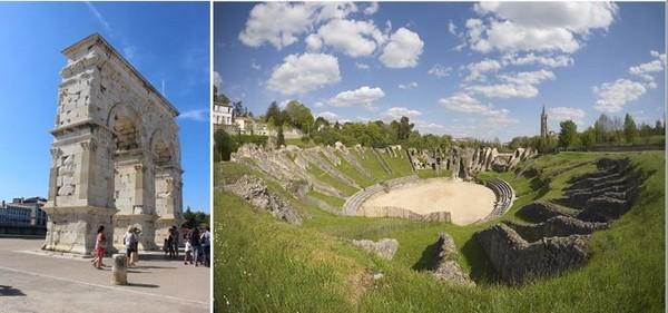 De gauche à droite : Saintes  l'Arc de Germanicus © Saintes Tourisme MP Guilhot ; Saintes Amphitheatre gallo-romain  © Studio Gaïa