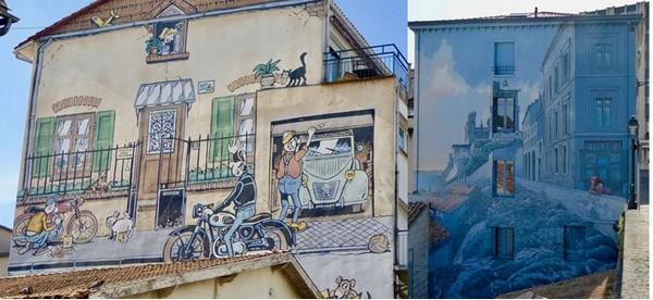 Angoulême Le Festival de la BD s'affiche sur les façades @ C.Gary ; Angoulême Les lauréats du Festival de la BD ont l'honneur des murs. @ C.Gary