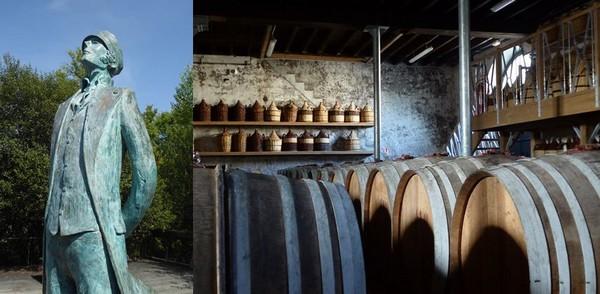 Angoulême. Corto Maltese en bord de Charente @ C.Gary ;  Saintes. Les chais de la Maison de Cognac Grosperrin. @ C.Gary