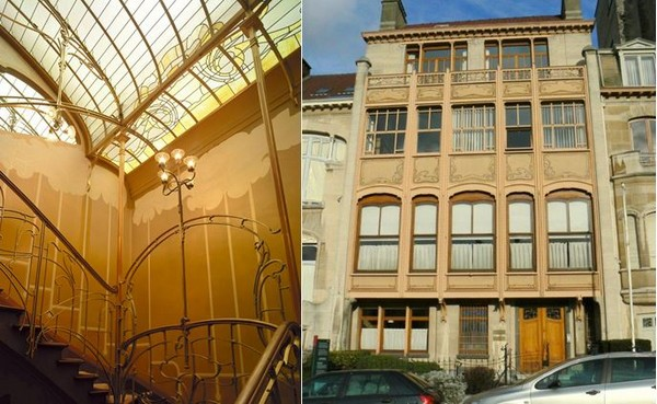 Maison Horta @Sofam 2016 - .et Hôtel Van Eetvelde, avenue Palmerston. Architecte : Horta. Le rez-de-chaussée (partie la moins noble) est en retrait par rapport à la façade. @ A.Degon