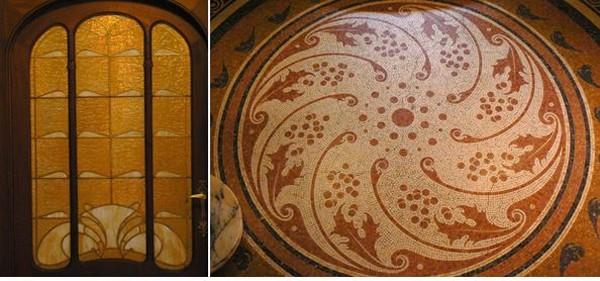 De gauche à droite - .Art Déco à l'Hôtel Hannon - Hôtel Hannon, rue de la Jonction. Architecte Jules Brunfaut.. Photo de droite -  mosaïque du sol de l'escalier. @ A.Degon