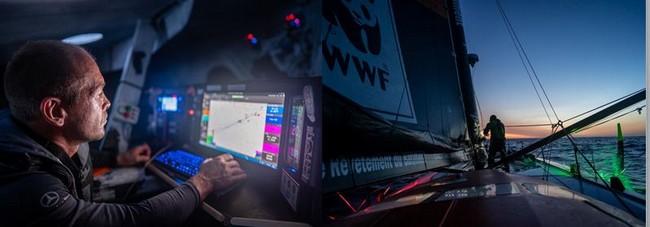 Le Malouin Kevin Escoffier à bord de son monocoque IMOCA @ VG