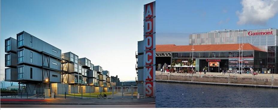 De gauche à droite :  A Docks, résidence universitaire construite avec des containeurs @ C.Gary ;Les Docks Vauban, un centre commercial et de loisirs sur le port. ©OTAH