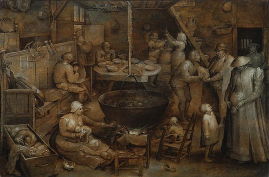 Jan Brueghel l'Ancien (Bruxelles 1568-1625 Anvers) La Visite à la métairie Panneau, 28,5 × 42,7 cm Acquis en 1920 ; inv. 431  Cette grisaille a longtemps été attribuée à Pieter Bruegel l'Ancien. La technique monochrome et le sujet paysan sont en effet caractéristiques du célèbre peintre. Son auteur est plus certainement Jan Brueghel l'Ancien, dit de Velours, fils de Pieter et lui-même peintre de natures mortes et de paysages très avidement collectionnés. En réalisant ce pastiche, Jan a peut-être voulu répondre à la demande du marché : on cherchait désespérément à acquérir des tableaux de son père. Le sujet du tableau est la visite à la ferme d'un couple élégant (à droite) : le patricien reçoit de son métayer un cône de sucre tandis que son épouse cherche dans sa bourse pour donner une pièce à l'aîné des enfants. © Fondation Custodia | Collection Frits Lugt - e-mail: coll.lugt@fondationcustodia.fr -