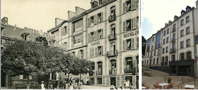 De gauche à droite : Julia Guillou (1848-1927) a donné son nom à l'hôtel qu'elle dirige de nombreuses années, faisant de ce lieu un incontournable de Pont-Aven. Le nouveau Musée de Pont-Aven occupe désormais l'ancienne annexe de cet hôtel.@ Photo archives - Musée de Pont Aven - et  L'annexe de l'ancien Hôtel Julia fait partie intégrante du musée. Ph. Musée de Pont-Aven