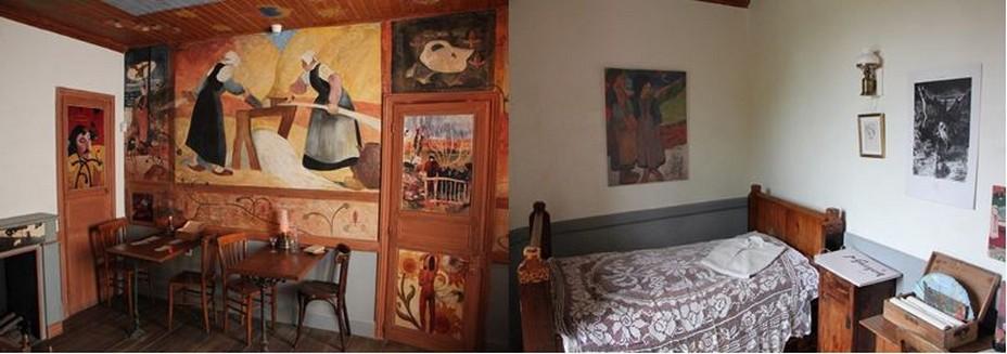 Reconstitution de la décoration de la salle à manger de la maison du Pouldu par  et ses amis et  reconstitution de la chambre de Gauguin à la maison-musée du Pouldu @ A.Degon