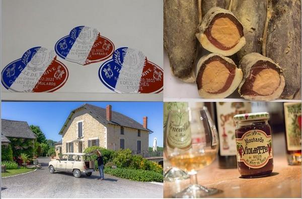 De gauche à droite : Médailles des sélectionnés aux Foires grasses@. C.Gary ; Le magret fourré au foie gras, une des spécialités à déguster sur le marché.©MalikaTurin; En bas de gauche à droite :  Chambres d'hôtes- Lescure-Haute- Larche - @Cecile Penaud-min ; Denoix-brive-tourisme-©MalikaTurin-