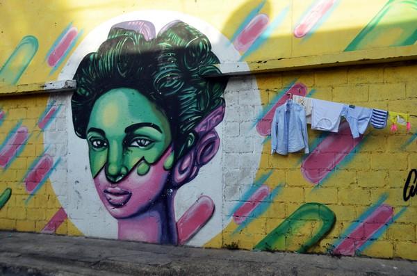Peinture murale dans la zone historique et coloniale de Saint-Domingue, la capitale de la République Dominicaine. Crédit photo David Raynal.