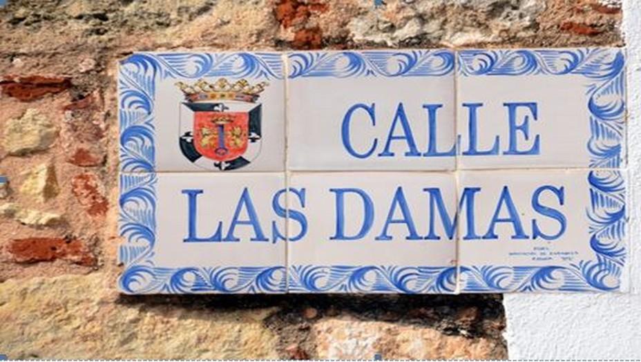 À Saint-Domingue, la Calle de la Damas ou la « rue des dames » est la première rue pavée des Amériques. D'anciens bâtiments coloniaux datant du XVIe siècle et désormais convertis en musées, ambassades et hôtels haut de gamme bordent cette rue pittoresque et étroite. Le soir, María de Toledo et ses dames sortaient du palais et se promenaient en descendant la Calle Las Damas conduisant directement à l'Alcazar de Colón. Crédit photo David Raynal.