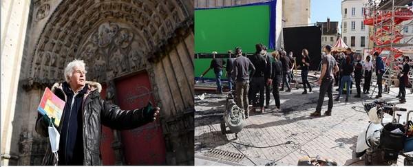 """Le cinéaste JJ Annaud tourne devant et dans la Cathédrale de Sens son film """" Notre-Dame Brûle"""" @ OTSens et  Lyonne"""