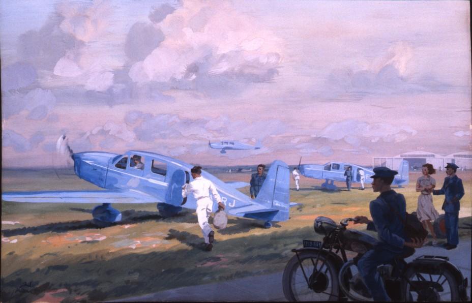 L'avion emblématique de l'aéropostale le Caudron-Simoun. La compagnie aéropostale Air Bleu, créée en 1935, s'équipa de douze Simoun (C630 et C635).  @ Musée de La Poste.