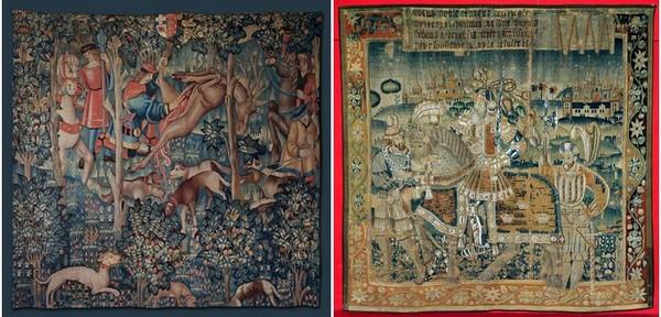 De gauche à droite : Scène de chasse. La curée @ JM Laugery et Les Preux Chevaliers ici le roi Arthur Léonard de Serres