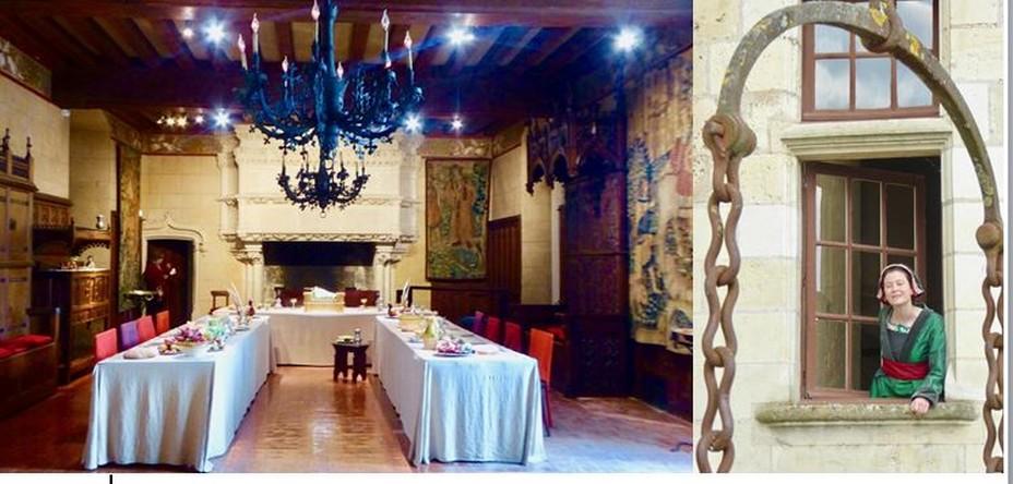 De gauche à droite : La salle du banquet et la dame de compagnie d'Anne de Bretagnequi vous accueille au pont levis @ C.Gary
