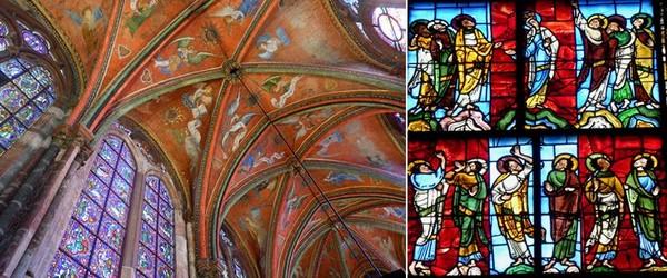De gauche à droite  Les anges musiciens dans la chapelle de la Vierge de la cathédrale  © pierre poirrier ville du mans ; Détail du vitrail de l'Annonciation, le plus ancien connu dans un monument religieux.@ C.Gary