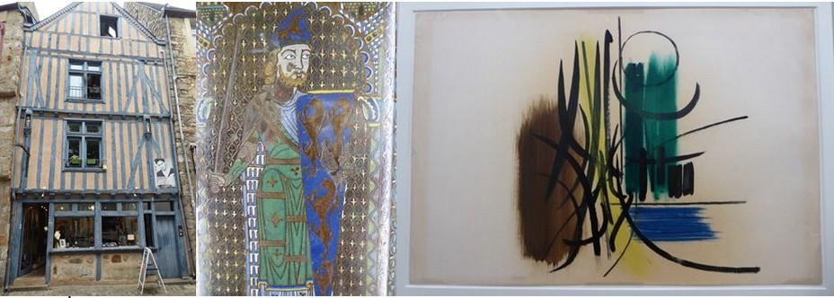 Photo 1/ Cité Plantagenêt @C.Gary ; 2/  Champlevé représentant Geoffroy Plantagenêt au musée du Carré Plantagenêt.@ C. Gary; 3/  Exposition Au Coeur des abstractions Hans Hartung @ C.Gary
