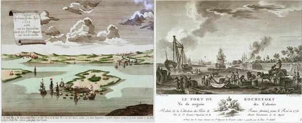 L'attaque de l'île d'Aix et de Rochefort en 1757 par la Royal Navy, 1764 et  Le port de Rochefort vu du magasin des colonies.
