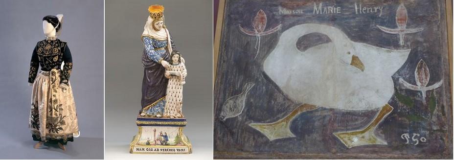 Musée breton costume traditionnel;  Musée de la Faïence Création Henriot ;©Office de Tourisme Quimper Cornouaille;   Musée des Beaux-Arts L'Oie de Gauguin sur enduit de plâtre @ C.Gary