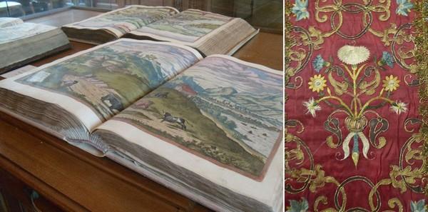 1/  Bibliothèque Bénédictine @ MeuseAttractivité. 2/  St Mihiel Musée d'Art sacré. Exposition De Soie et d'or @. C.Gary