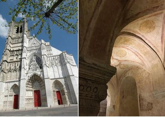 Auxerre Cathédrale Saint Etienne@Josette  aliaux et   Auxerre Crypte de l'Abbaye Saint Germain© Ville Auxerre