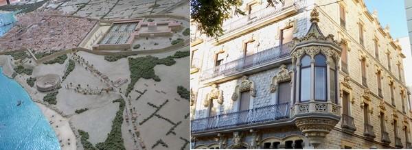 1/ Maquette de la ville romaine de Tarragone à l'Antiga Audiencia @C.Gary  . 2/  Belle façade de la Casa Salas Ricoma, architecte, sur la Rambla nova de Tarragone @.C.Gary
