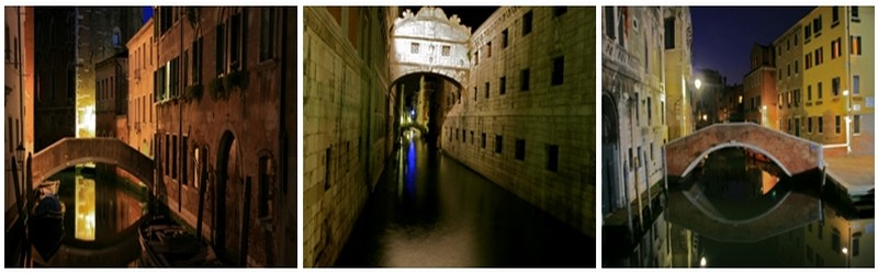 La nuit vénitienne éclabousse de lumières étranges une multitude de canaux ©Patrick Cros