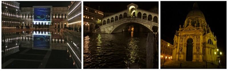 De gauche à droite : La place Saint-Marc joue la nuit avec l'eau et la lumière ©Patrick Cros; Le pont Rialto  ©Patrick Cros; L'église Santa Maria Della Salute  ©Patrick Cros