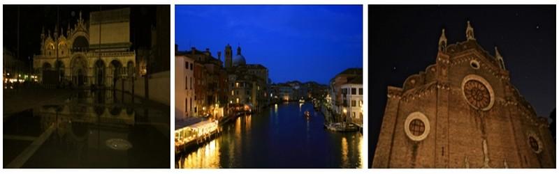 De gauche à droite : La Basilique Saint-Marc  ©Patrick Cros; Le Grand canal parcourt la ville sur près de quatre kilomètres ©Patrick Cros; Balade au coeur de la nuit vénitienne ©Patrick Cros
