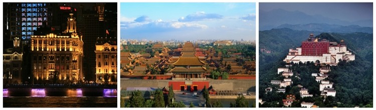 De gauche à droite : Shangaï la nuit; Vue sur Beijin; Chengde, ville de la province de Hubei, célèbre pour être l'ancienne résidence d'été des Empereurs Mandchous au début de la dynastie Qing (Crédit photo DR)