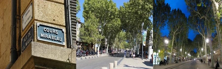 Le  bas du Cours Mirabeau à Aix en Provence dans tous ses états, le jour et la nuit (Photos DR)