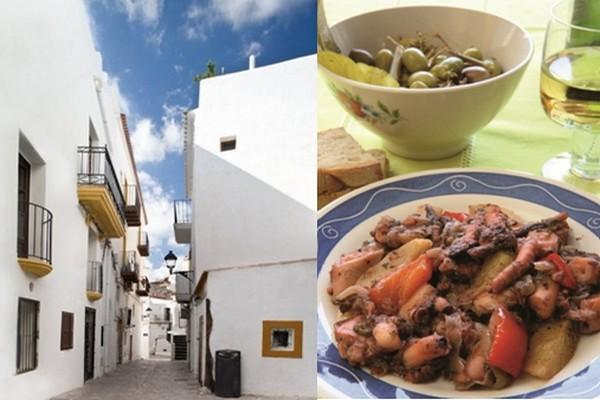 """De gauche à droite : Une rue du Centre de la capitale; Gastronomie fine et variée dans laquelle la pêche tient sa place mais aussi les plats traditionnels comme le """"arroz a la marinera"""", le """"bullit de peix"""" (bouillabaisse locale) (Crédit photo Catherine Gary)"""