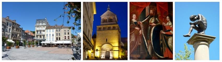 De gauche à droite : Place des Vosges d'Epinal qui donnera son nom à son homonyme parisien; Basilique St-Maurice au coeur de la nuit; St-Goëry, patron de la ville d'Epinal; Pinau, symbole d'Epinal, chef-lieu des Vosges (Crédit photos Bertrand Munier)