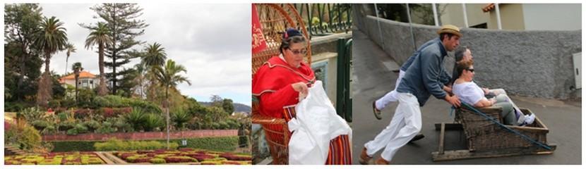 De gauche à droite : Le jardin botanique de Funchal ; Une dentellière travaille dans la plus pure tradition de cette région du Portugal;  Les carreiros (charretiers) promènent dans leur panier d'osier des touristes (Crédit photos André Degon)