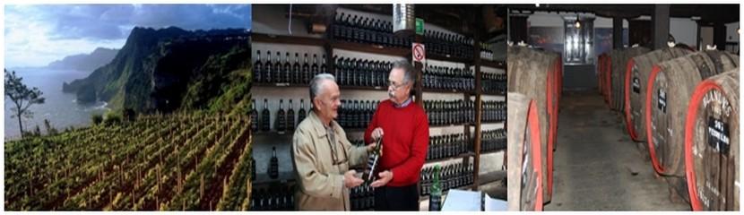 de gauche à droite : Vignobles en espaliers sur les côteaux de la région de Madère ; Cave des propriétaires Barros et Sousa ; Tonneaux où vieillissent les meilleurs vins de Madère (Crédit photos DR)