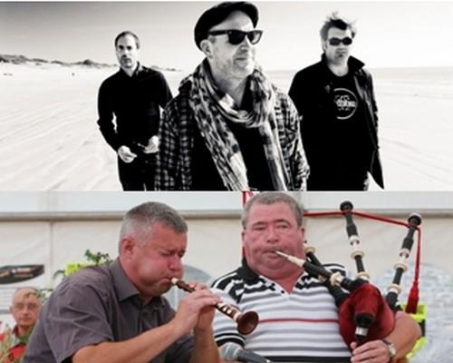 Le groupe de rock celtique Red Cardell et les sonneurs Hubert Raud et Fabrice Lothodé (Crédit photo D.R. et Jack Fossard).