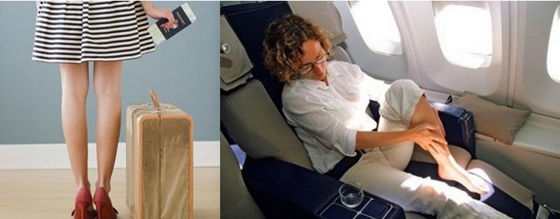 Faire de nombreux et parfois longs voyages en avion impose quelques règles afin d'éviter certains problèmes liés notamment au confort des jambes (Crédit Photos  - Marie-Claire et Magazine de santé)