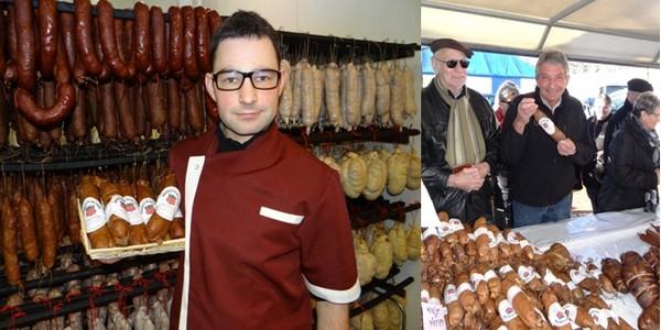 de gauche à droite : Arnaud Daval  l'un des cinq bouchers ; Gérard de Saint-Max, fier d'acheter et de présenter l'andouille ajolaise. (Crédit photo Bertrand Munier)
