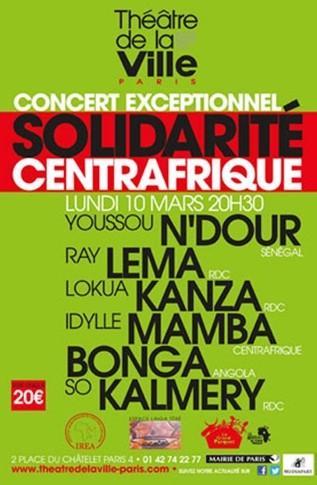 Solidaire : Un concert de soutien pour la Centrafrique au Théâtre de la Ville à Paris.