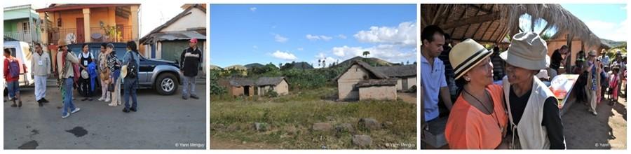 """De gauche à droite : Première étape au départ d'Ampéfy; Un village en pleine brousse qui a bénéficié de lampes solaires;  Distribution des lampes solaires par la Présidente de l'association « Les Jardins de Lumière de Madagascar"""" Josielle Randriamandranto (Crédit photos Yann Menguy)"""